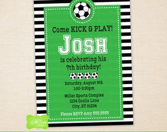 Soccer Party Invitation - Soccer Birthday Invite - Sports Invitation - Digtal & Printed Available