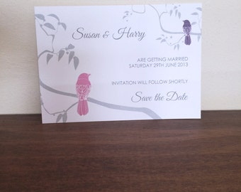 Save the Date card 105 x 152mm - (Lovebirds range)