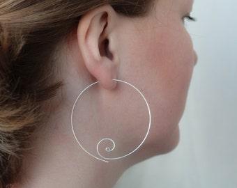 Silver Hoop Earrings , Big Hoop Earrings , Large Hoop Earrings , Everyday Jewelry , 2 Inch , Hoop Earings , Silver Hoops , Gift For Her