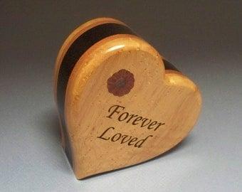 Unique Heart Urn, Birds-eye Maple,  Mahogany and Ebanized Maple Woods Pet Urn, Cremation Urn, Small Urn, Wood Urn, Heart Urn,