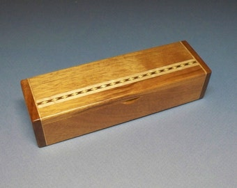 Mahogany and Maple Inlay Box - Lacquer Finished, Small Wooden Box, Trinket Box, Handmade Box, Bracelet Box, Necklace Box