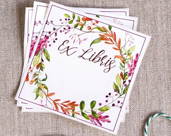 Book plate Stickers - Watercolor Autumn Wreath - Acid Free - bookplates - bookplate labels - gifts for book lovers