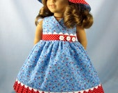 18 Inch Doll Clothes - Fits American Girl - Doll Sundress and Hat -Red White and Blue Hearts and Flowers - Florrie