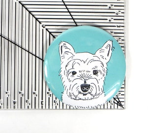 Westie magnet - West highland white terrier gift - west highland terrier portrait - westie illustration - cute dog gift - cute terrier gift