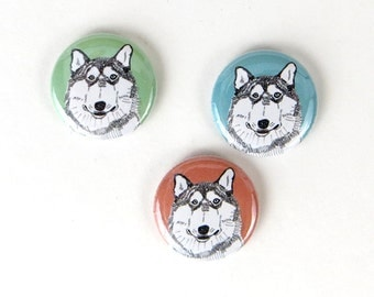 Husky dog buttons or magnet set of three, husky magnets, husky buttons, husky pins, husky badges, fridge magnets 1 inch button pack