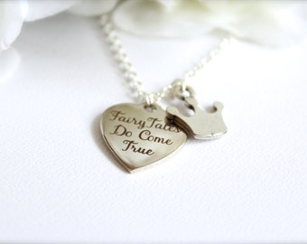 Fairy Tales Do Come True, Silver Crown Princess Necklace, Tiara Charm Personalized Necklace -- FREE Gift Packaging