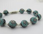 Artisan Bracelet,Turquoise  Bracelet, Turquoise  flower bracelet, Handmade, unique, Bracelet, clay bracelet, Magnetic, adjustable.