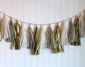 Tissue Tassel Garland in Soft Neutrals