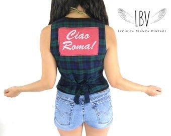 Vintage Plaid Cotton Vest with Ciao Roma on Back