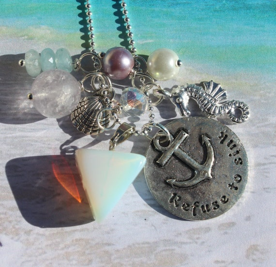 Beach charm Necklace, Refuse to sink, Pastel Neutral stones, Amethyst ...