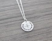 GPS Coordinate Necklace - Necklace with Custom Coordinates - Silver Coordinates Jewelry
