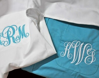 Monogrammed Shirts, Bride Shirt, Personalized Bridal Party Shirts, Bridesmaids Button Down Shirts, Getting Ready Shirts, Set of 12 Over Size
