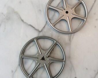 """Vintage 5"""" Movie Reels.  Silver Tin color"""