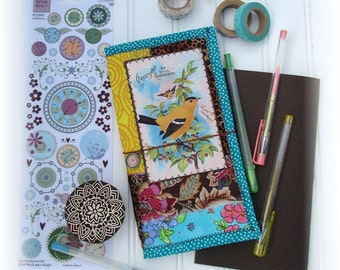 OOAK Fauxdori, Fabric Collage Fauxdori, Scrappy Midori, Traveler's Notebook, Free Insert!