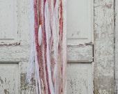 Bohemian Dreamcatcher, White, Coral, Shabby Chic, Valentines Gift, Pastel, Boho Decor, Gypsy Wall Art, Sari Silk, Wall Hanging, Wedding Gift