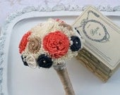 Orange Coral & Navy Bouquet, Bridesmaids Bouquet, Bridesmaid Flowers, Orange Coral, Sola Wood, Navy Bouquet, Small Bouquet