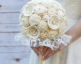 Sola Bridal Bouquet, Sola Flower, Cream Brides Bouquet, Keepsake Bouquet, Ivory Bridal Bouquet, Cream Ivory Bouquet, Lace Wedding, Sola Wood