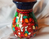 Mexican Pottery Vase Hand Painted Folk Art