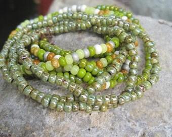 Green Meadows - 9 Strand Stretch Bohemian Hippie Stack of Bracelets - Gypsy Bracelet Stack Set