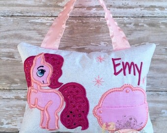 Personalized Girls Tooth Fairy Pillow Embroidered, Princess Tooth Fairy Pillow, Keepsake Tooth Fairy Pillow, Pony Pillow