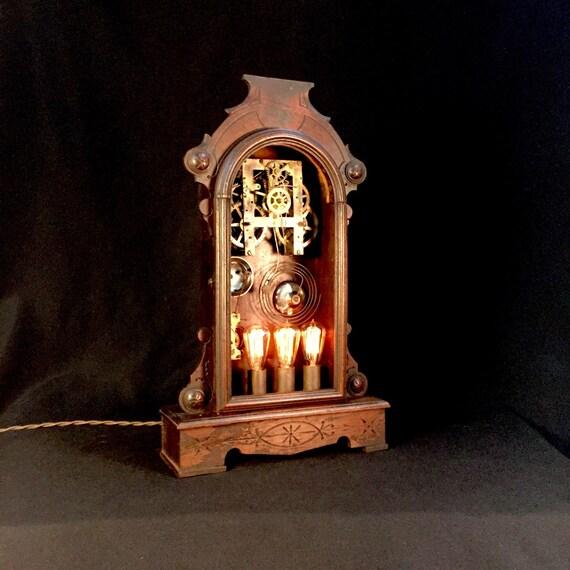 Vintage Clock Cabinet Lamp
