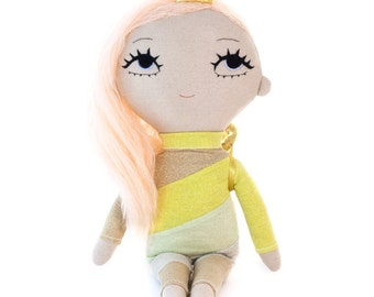 Angel doll, fabric doll, soft art doll, textile doll, embroidered doll, rag doll, stuffed doll, toddler doll, plush doll, plushie, princess