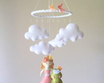 Baby mobile  - princess mobile - princess and frog mobile - fairytale mobile