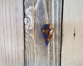 Mosaic Lapis Lazuli Diamond Point Boho Long Necklace