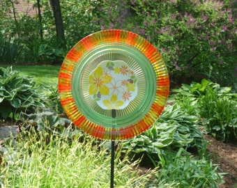 Painted Glass Yard Art, Outdoor Art Sun Catcher, Glass Garden Art, Home Décor with recycled glassware