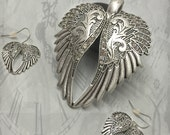 Steampunk Wing earrings wing necklace set steam punk necklace