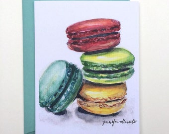 CLEARANCE Watercolor macaron blank greeting card french macaroons