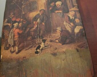 19th C Primitive Folk Art: Transfer on Thick Wooden Block