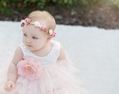 Pink Ivory Gold Floral Crown - Floral Halo Floral Boho Headband Newborn Photo Prop Shabby Chic