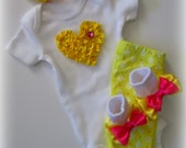 Baby Girl Pink and Yellow Complete Pant Set, Newborn Baby Girl Complete Clothing Set, Baby Girl Diva Outfit, Baby Girl Shower Gift
