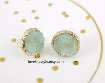Mint  Druzy or Drusy Stone Post Earrings,Tiny Mint Green Druzy Earring,  Bridal Earrings, Bridesmaid Earrings, Birthday Gift, Style No. 6017