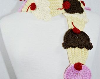 Neapolitan Cupcake Scarf-Women accessories-Neck Warmer-Kawaii-Crochet scarf-Crochet Cupcakes-fairy Kei-Christmas Gift-Birthday Gift-Lolita