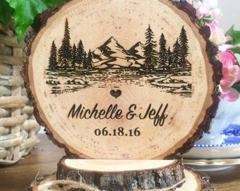 Rustic Mountain Wedding Cake Topper, Tree Cake Topper, Wood Cake Topper, Engraved Topper, Custom Cake Topper, Personalized Topper