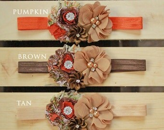 Rich Shades of Autumn Baby Girl Headband - Fall Colors Bow for Babies, Toddlers & Little Girls - Orange, Tan, Brown Headband