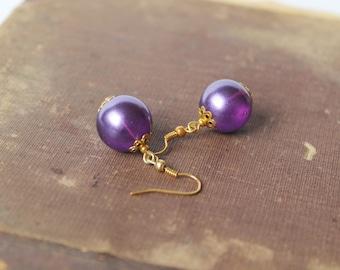 Purple Glass Earrings Purple Dangle Earrings Beaded Earrings Purple Gold Jewelry Fall Jewelry Gift idea for her