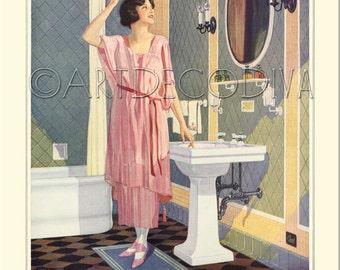 Vintage 1920's DECO Bath Tub Bathroom Sink Pastel Tile Pink Dress Girl Hair Beauty Style Poster Fine Art Print