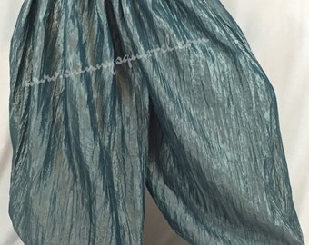 Crinkle taffeta harem pants in greyish teal for fusion, tribal belly dance, gypsy,pantaloons, turkish, ATS,SCA,