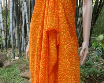 Orange Sarong, Swimsuit cover up, Beach Sarong, Pareo