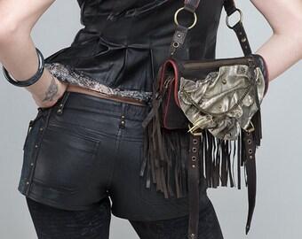 Leather bag, leather hip bag, leather boho bag, leather purse,  leather burning man bag