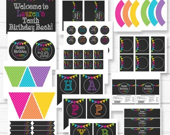 "Diy ""Rainbow Chalkboard"" Inspired Girls Birthday Digital Printable Party Package"