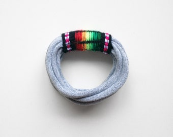 Peruvian textiles, peruvian bracelet, tribal bracelet - The peruvian bracelet - handmade in grey jersey and black peruvian fabric