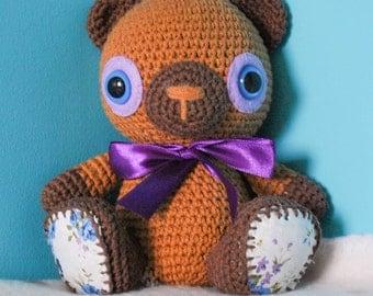 Purple teddybear, amigurumi, crochettoy, crochet, pattern by Lilleliis