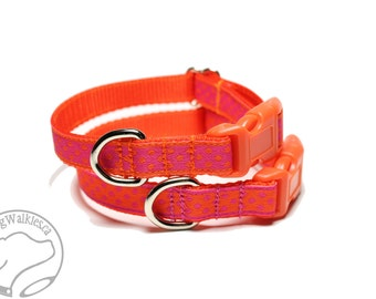 "Orange Dots and Hot Pink Dots Dog Collar - 1/2"" (13mm) Wide - Thin Dog Collar - your choice of style, pattern and size"