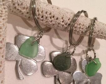 Four Leaf Clover Keychain with green sea glass keychain, talisman,Irish symbol,St Patricks Day, good luck charm