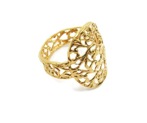 items similar to 14k yellow gold lace ring gold ring