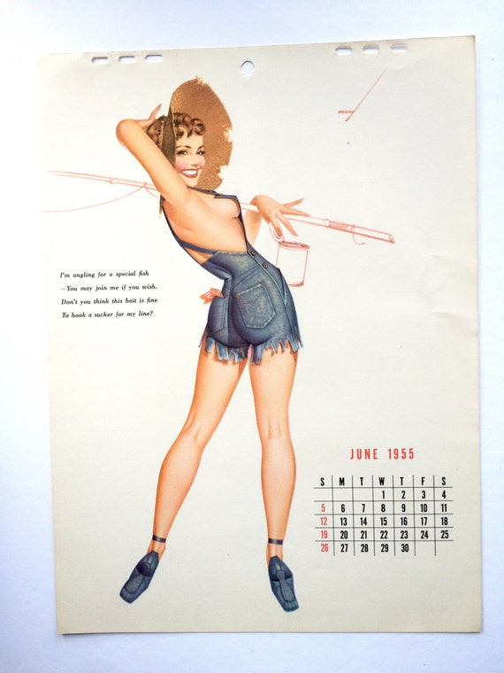 Pin Up Calendar Vintage : June pin up calendar george petty esquire
